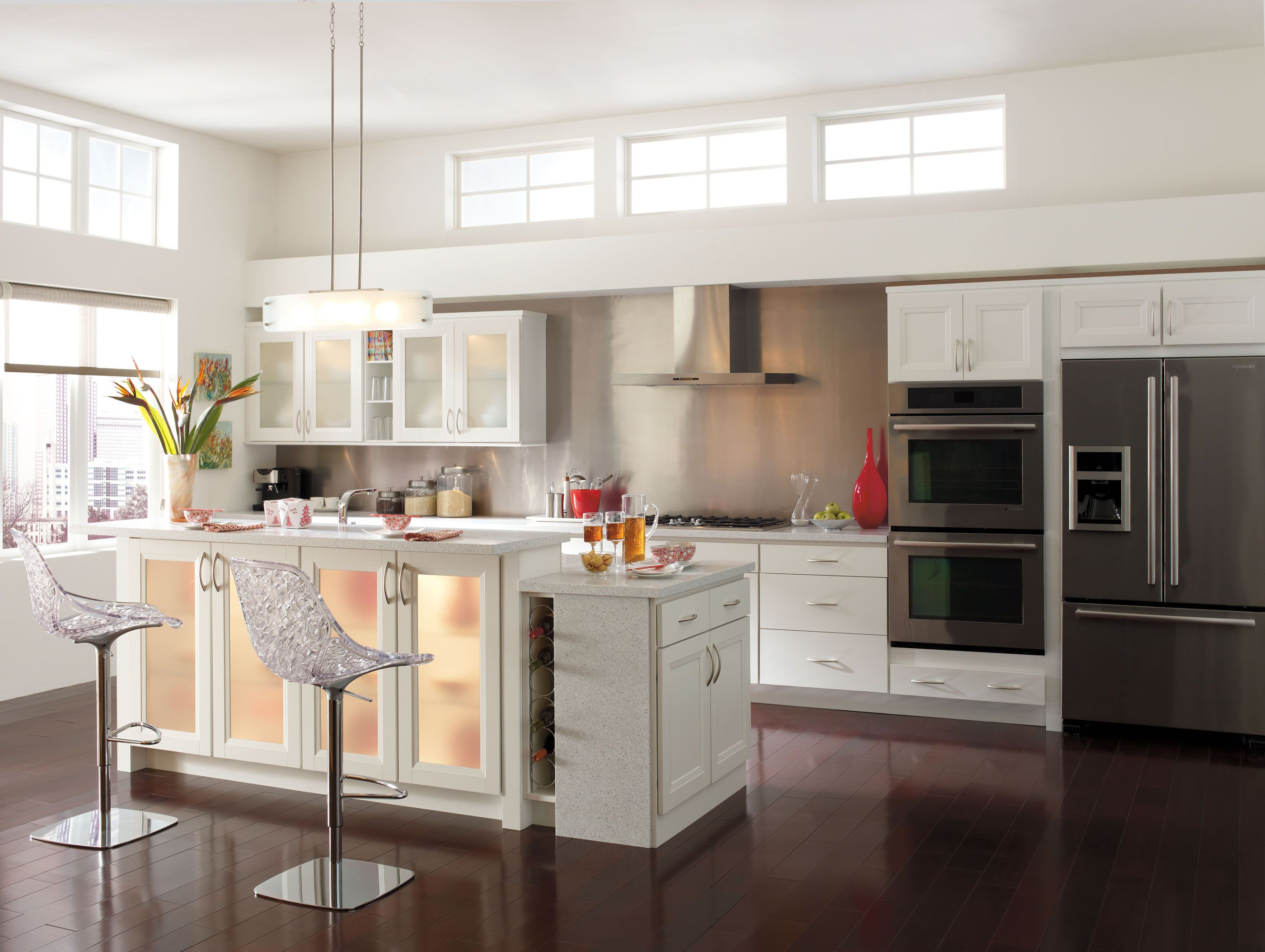 Add contrast to your kitchen by pairing a simple lightcolored