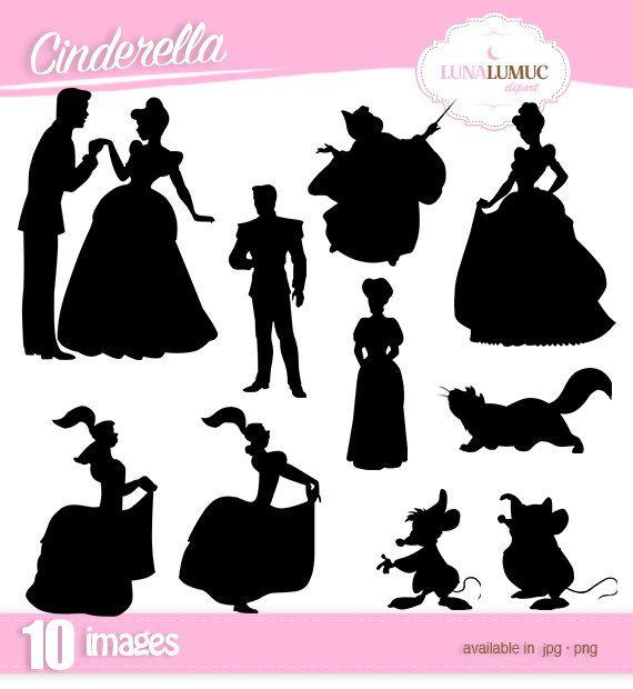 Cinderella Silhouettes Clipart Instant Download Jpg Png Disney Silhouette Art Disney Canvas Art Cinderella Silhouette