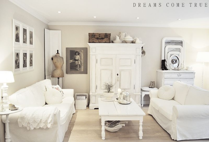 Wohnzimmer Shabby ~ Beautiful living room in creamy whites from dreams come true