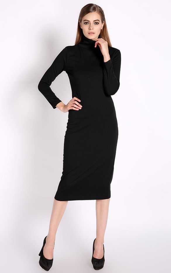 2cfa5d6d76 Womens Turtle Neck Slim Bodycon Dress Cocktail Party Evening Pencil Dress