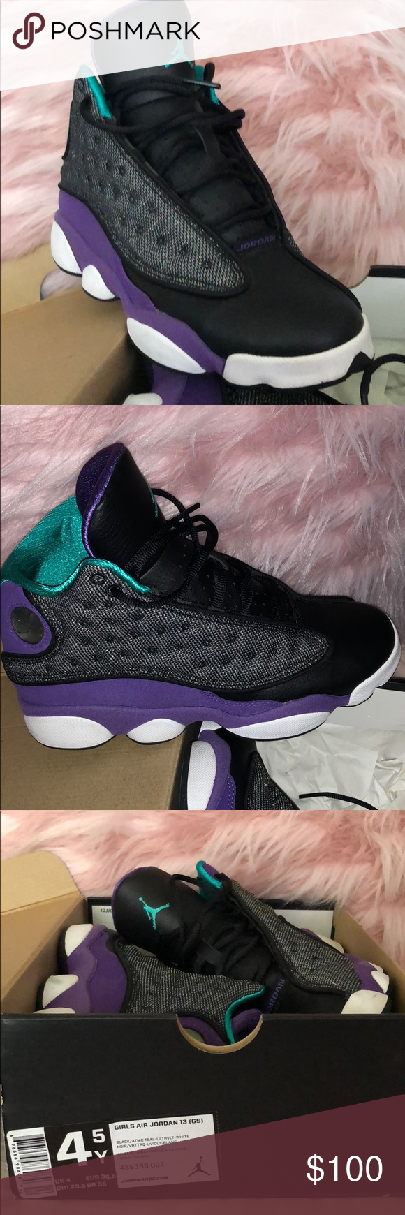 brand new 0a7c8 41e14 Air Jordan 13 Black Atomic Teal Ultra Violet White Dope Air Jordan 13 s in  Teal Black  Violet. Size 4.5 in boys. Equal to size 6.5 in Women Air Jordan  Shoes ...