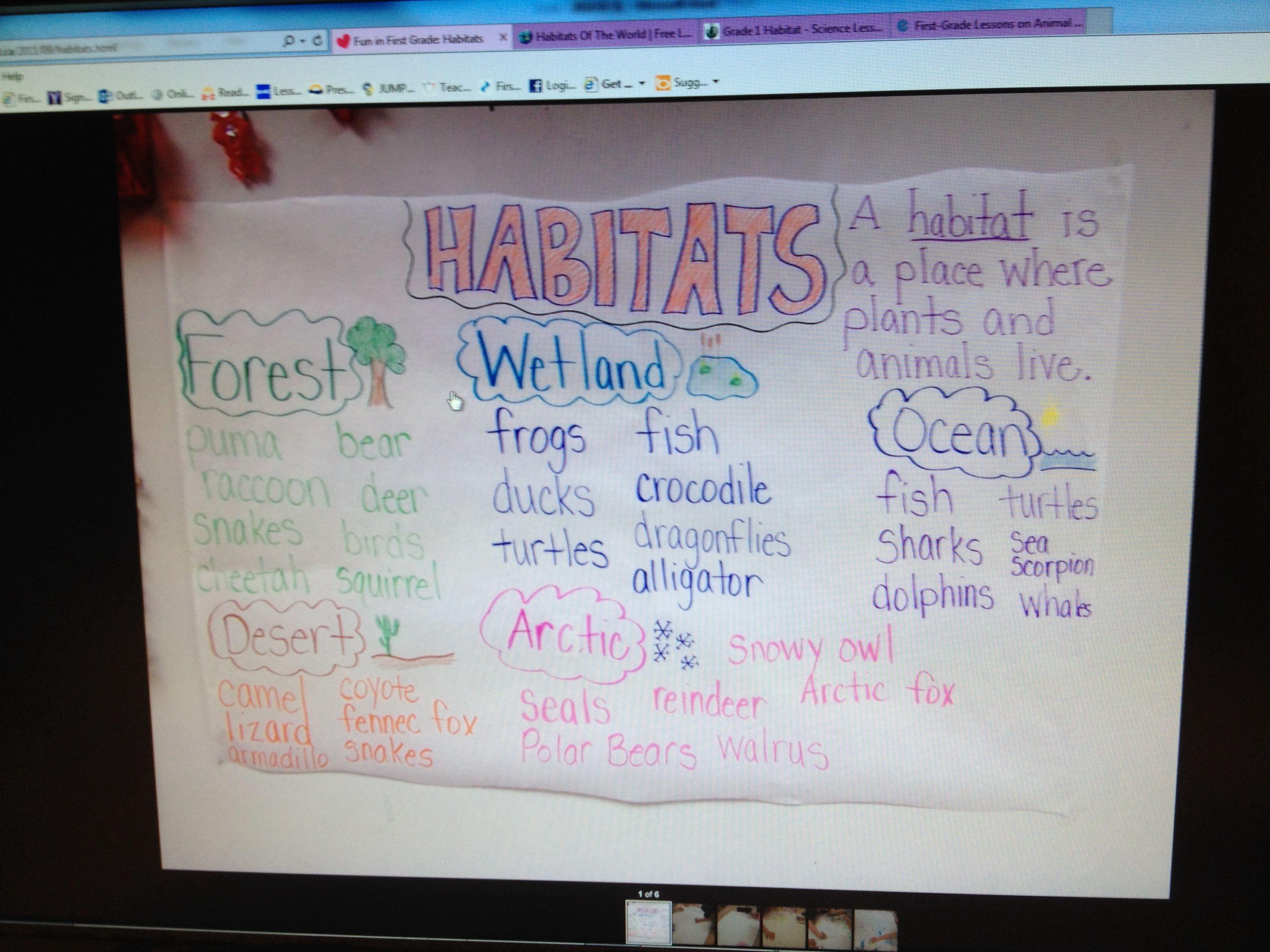 Habitats anchor chart Math, Math journals, Kindergarten math