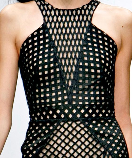 CUT & PIECED // MARIOS SCHWAB    BLACK / CUT OUT / DRESS / FABRIC / FASHION / fashion design / GRID / london fashion week / marios schwab / SS12 / TRIANGLE