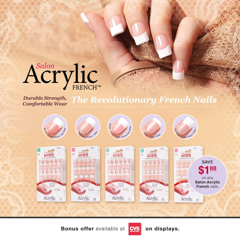 Save On Your Next Salon Acrylic French Manicure When You Visit Cvs Available At Select Cvs Betterth Acrylic French Manicure French Nails Artificial Nails