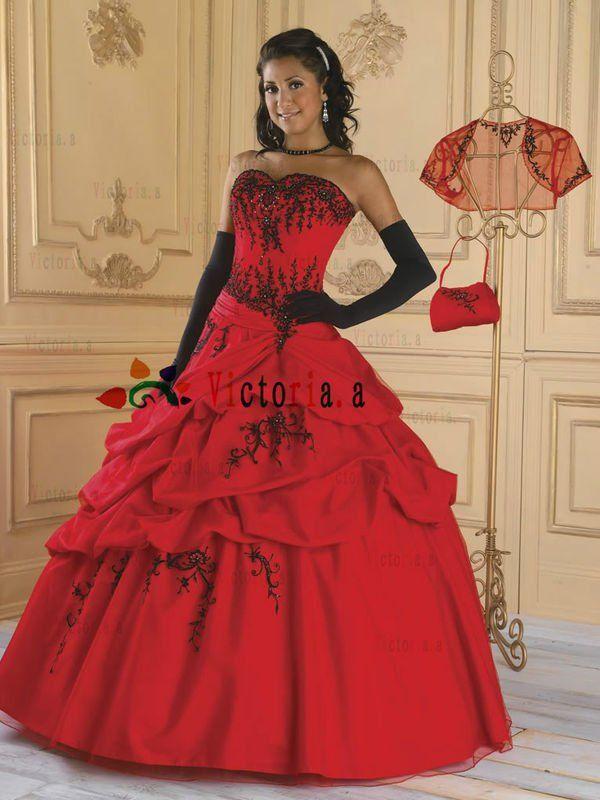 quinceañera red black dress - Buscar con Google | [1] Temática ...