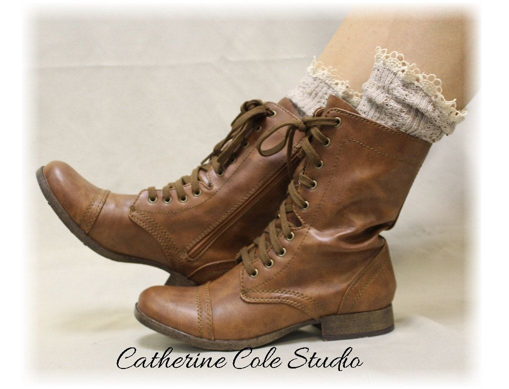 MISS TORI in Oatmeal Socks lace boot socks boot socks,combat boot ...