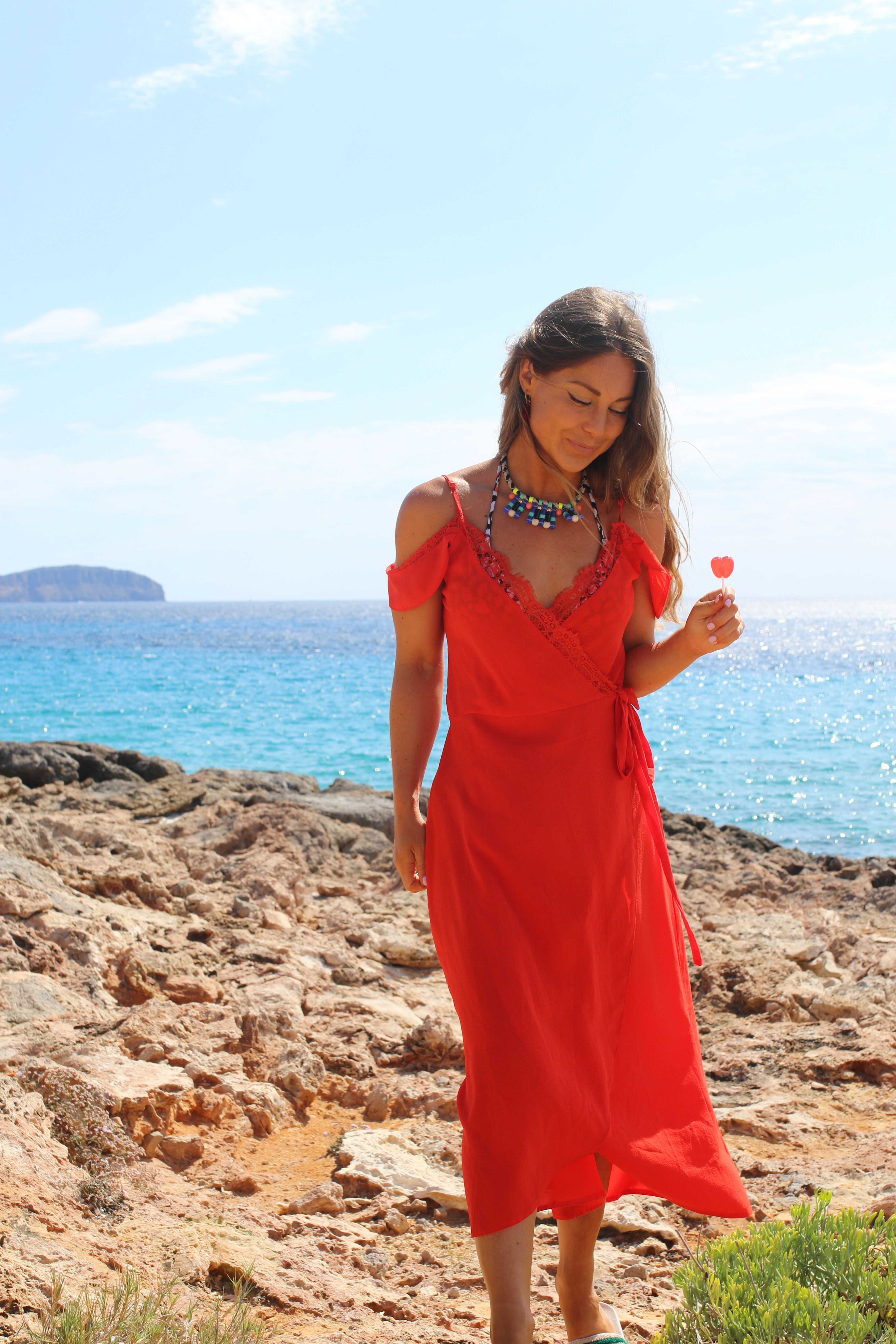Louise Thompson wearing our Eyelash Lace Dress in orange in Ibiza ... fb9a5f91c