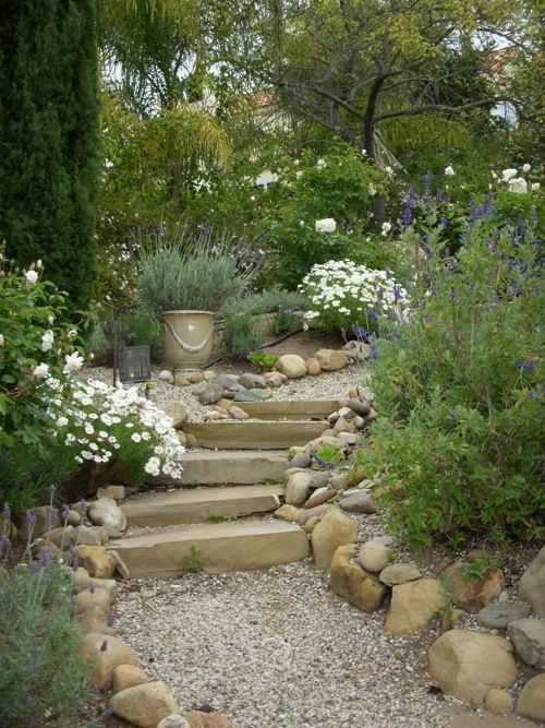 Photo of Image result for curved gravel area for potted fruit trees