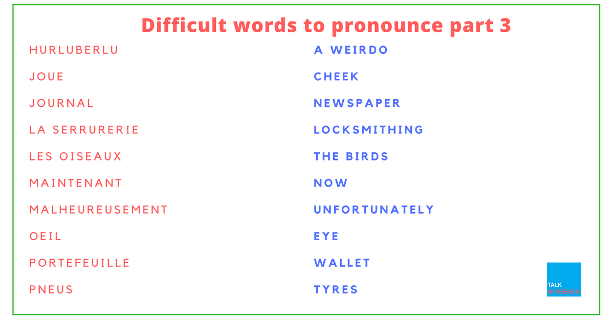 30 Difficult To Pronounce French Words Part 3 French Words Words Learn French