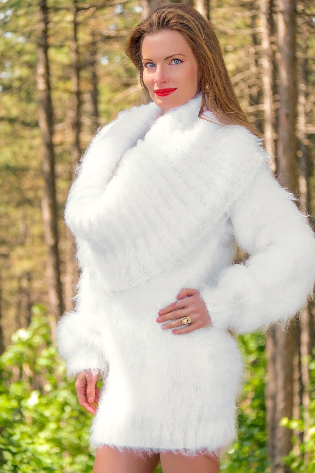 b513936baefe4 New white hand knitted mohair sweater dress fuzzy cowlneck tunic SUPERTANYA  SALE