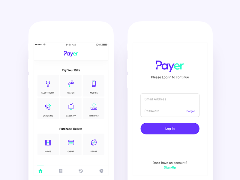 Payment App - Dashboard and Log In Views | UI Design | App