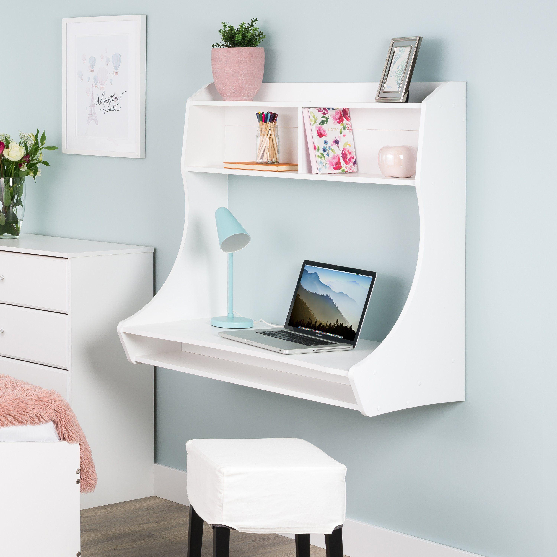 Small Wall Mount White Desk In 2020 White Desks Floating Desk