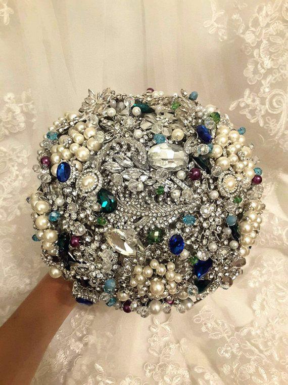 b496db4ca VINTAGE Peacock Heirloom Brooch Bouquet. FULL PRICE on Crystal Pearl ...