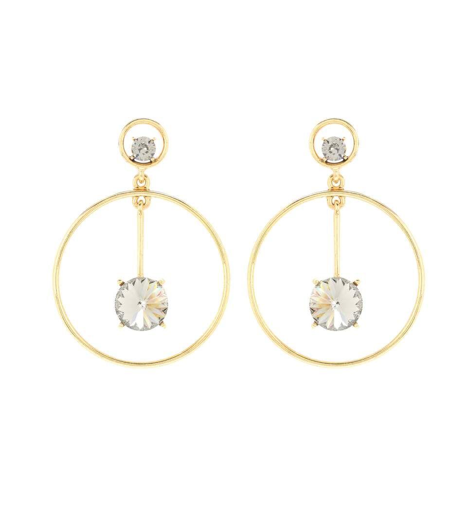 discount price shop for genuine latest style of 2019 OSCAR DE LA RENTA Crystal Drop Hoop Earrings ...