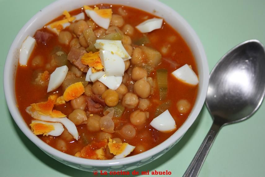 La cocina de mi abuelo garbanzos con jam n y calabac n con cuchara guisos sopas legumbres - La cocina de mi abuelo ...