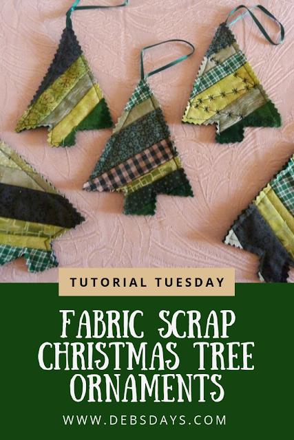 Sew Scrap Fabric Christmas Tree Ornaments