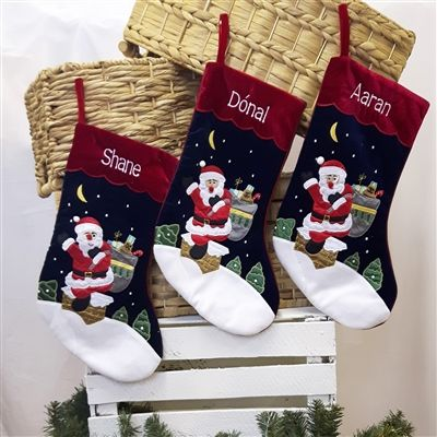 Personalized Christmas Stockings embroidered with names for the whole family for Christmas 2016. Velvet and Felt Stocking with Santa and his sack filled with presents. WowWee.ie | €14.00