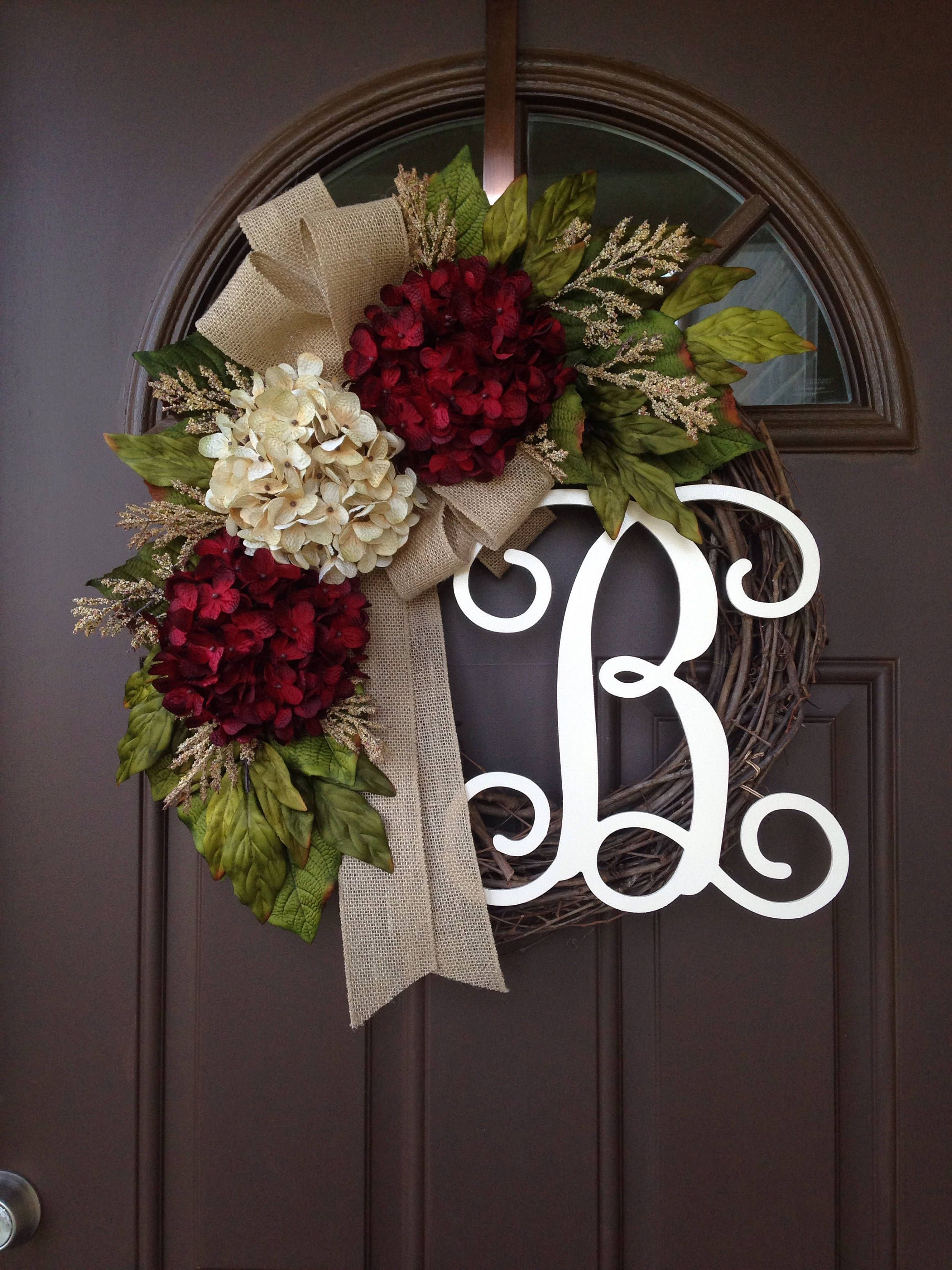 Front door decor for all seasons - All Season Wreath For Front Door Front Door Monogrammed Wreath Rustic Grapevine Wreath With Burlap Personalized Gifts Year Round Decor