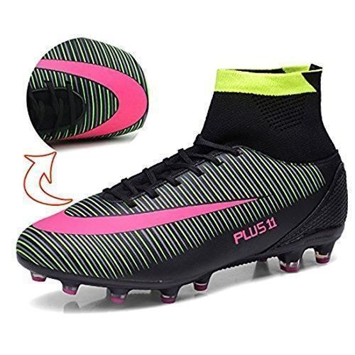 BOLOG para adultos adolescentes hombre FG Botas de fútbol Spike zapatos de fútbol Botas de fútbol de gran parte superior JcSRgpF