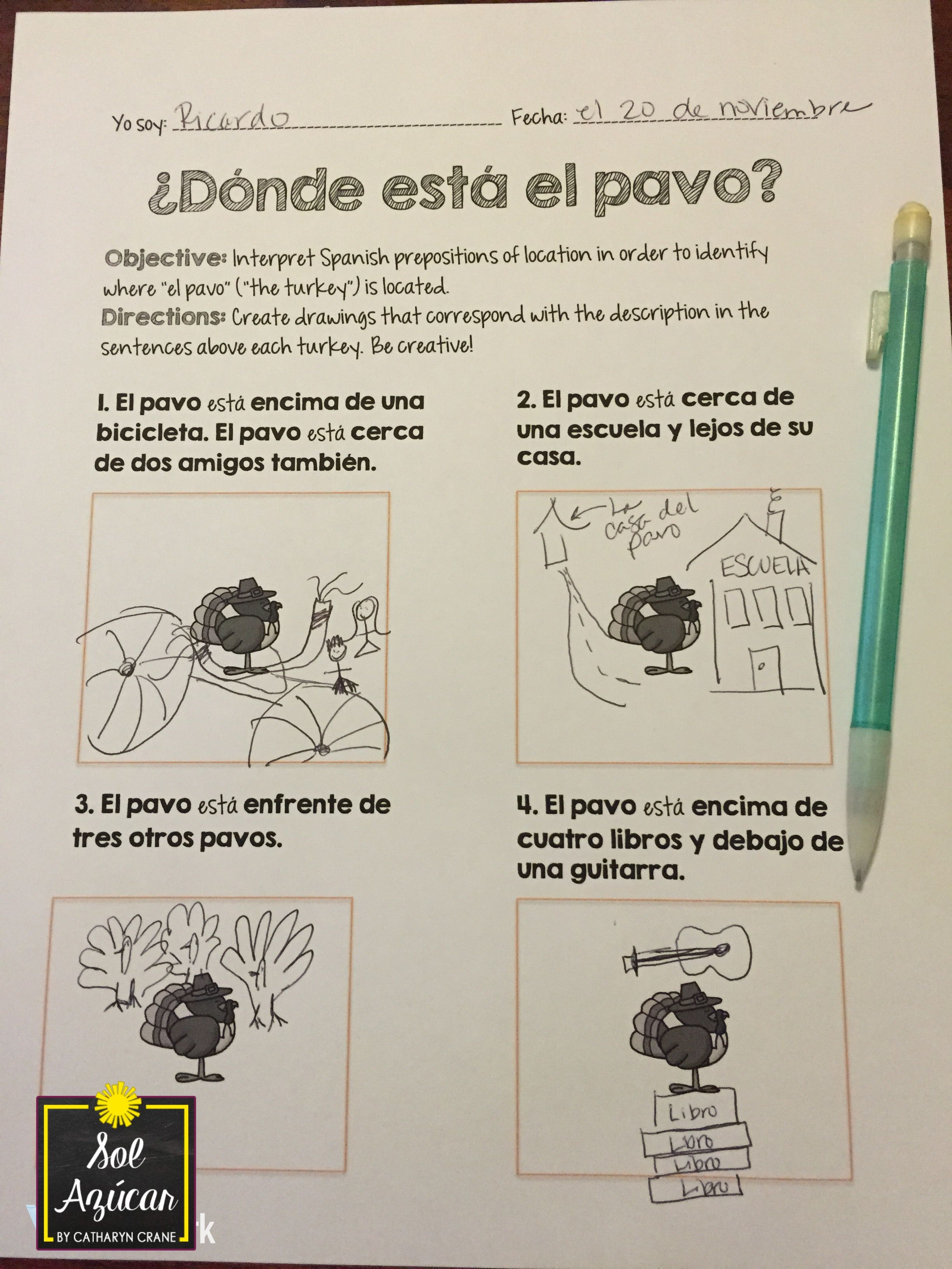 Spanish Thanksgiving Donde Esta El Pavo Read And Draw