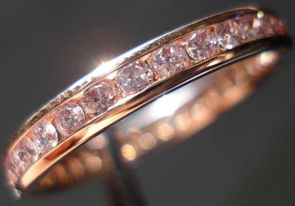 Pink Diamond Wedding Band Rose Gold Anniversary