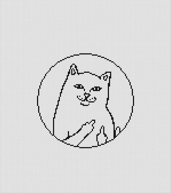 Photo of Cat Cross Stitch Pattern Modern Cross Stitch Chart Pdf Format Instant Download