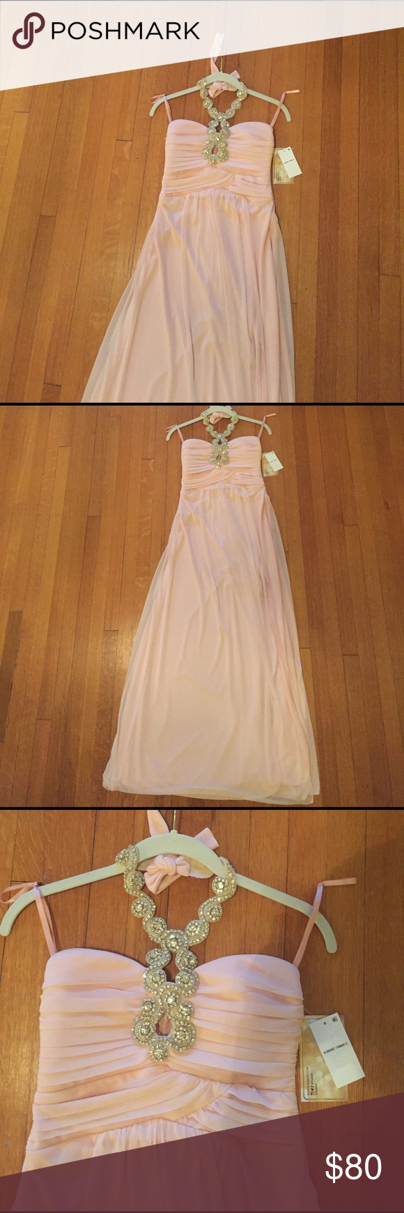 Light pink halter neck prom dress nwt halter neck blush pink and