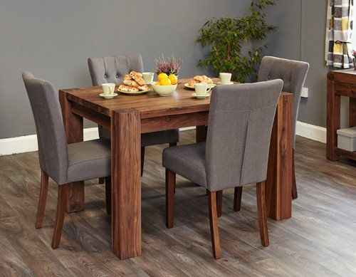 Baumhaus Shiro Walnut 4 Seater Dining Table Oak Dining Sets Oak