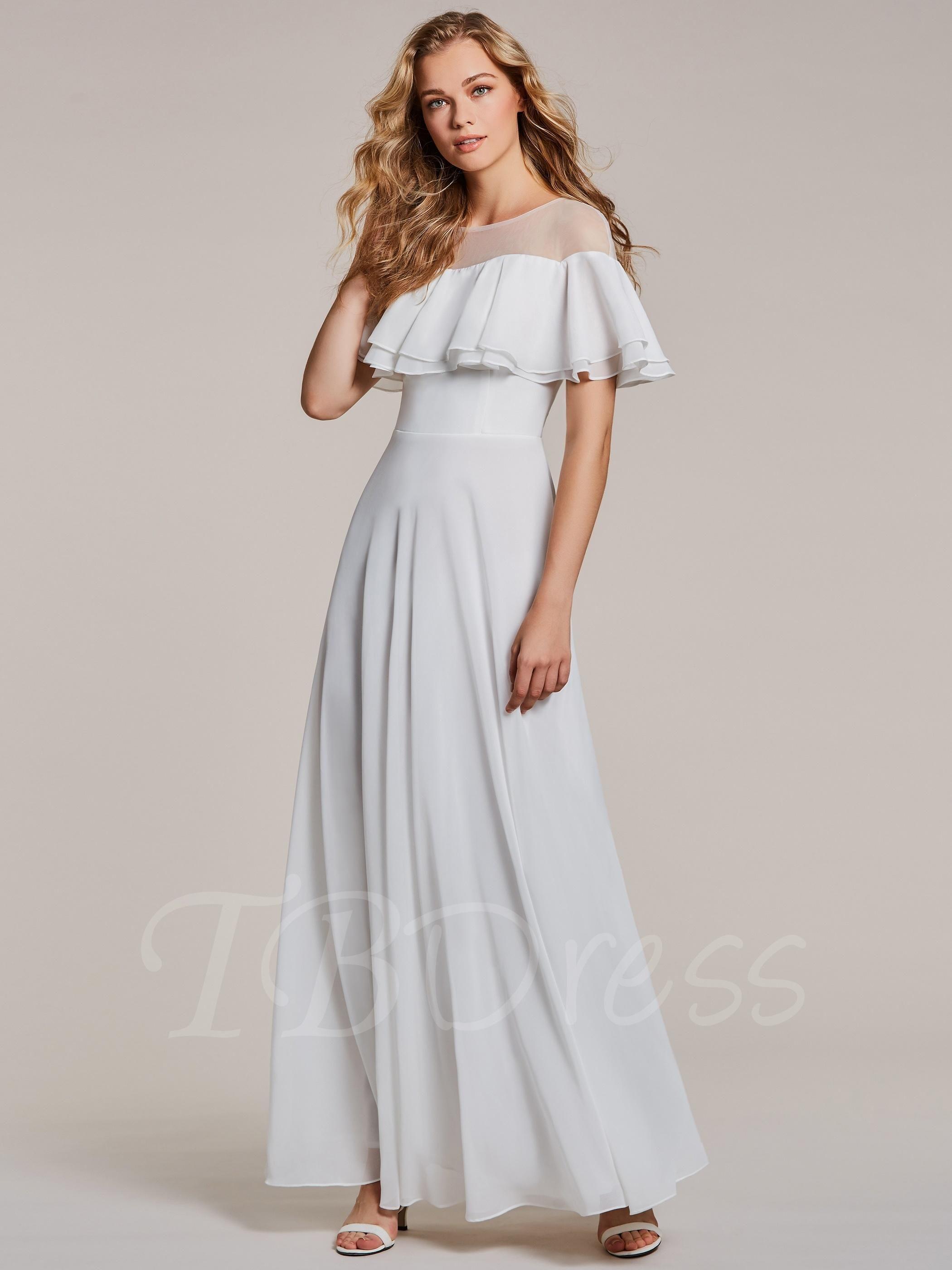 Adorewe tbdress tbdress scoop neck a line white evening dress