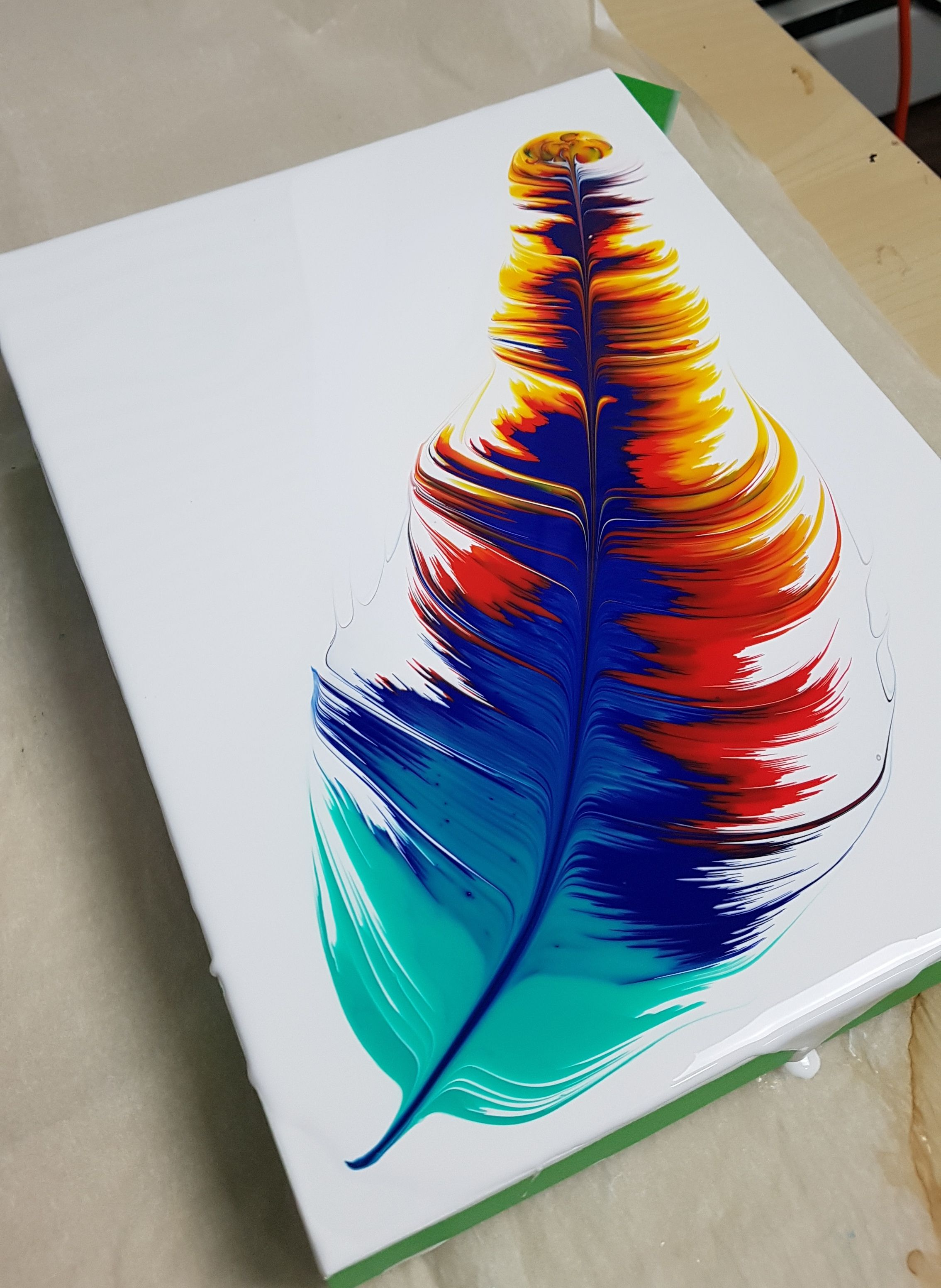 Acrylic Pouring Feather Fluid Art Tutorial By Olga Soby From