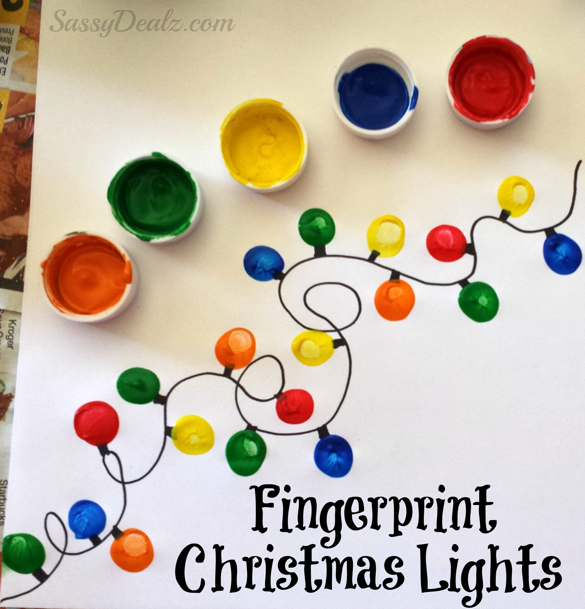 DIY Fingerprint Christmas Tree Light Craft For Kids Just Have The Child Dip Their Pointer Finger In Different Colored Paints Super Cute