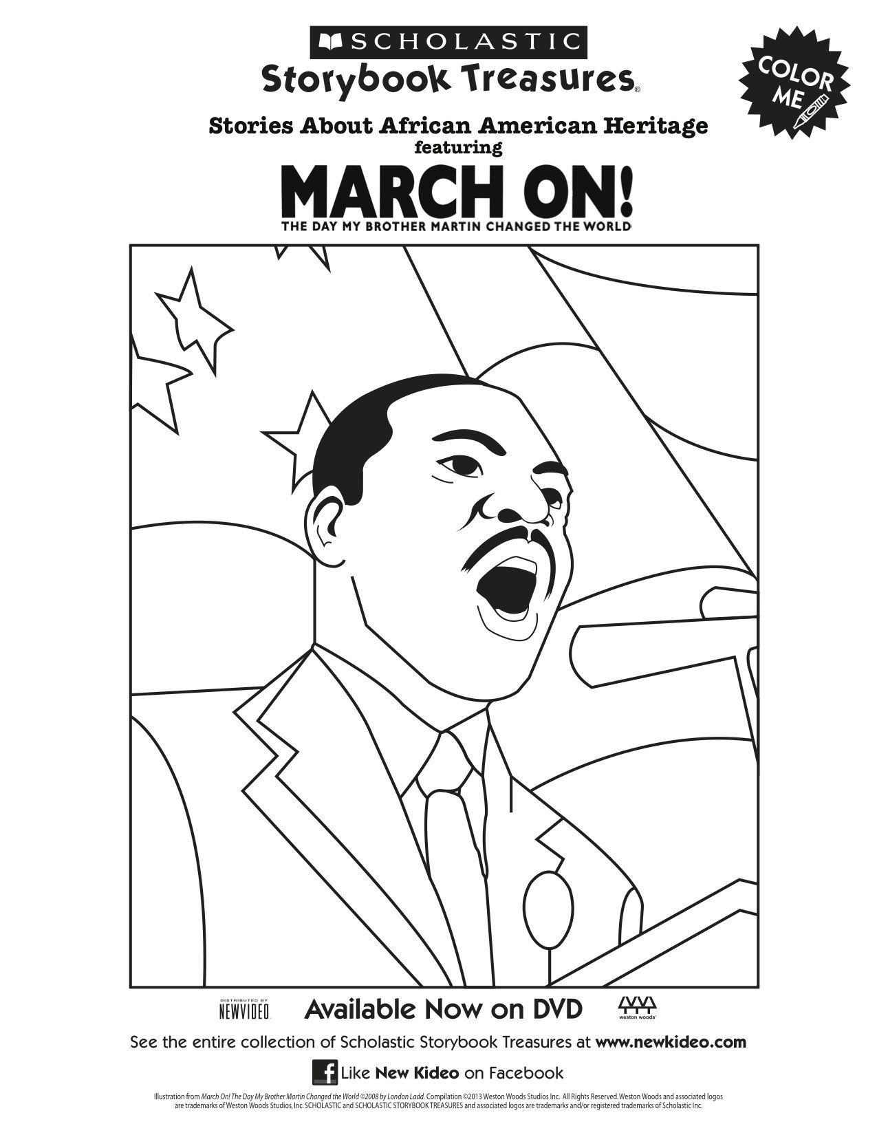 Scholastic Printable March On Martin Luther King Jr Coloring Page