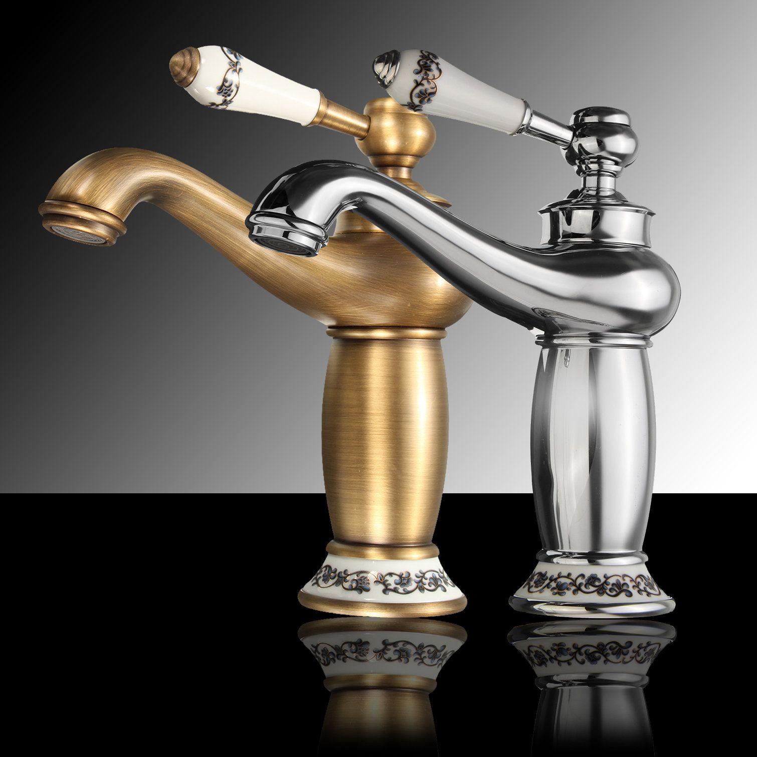 Antique Bronze Brass Faucet Hot & Cold Mixer Tap Ceramic Handle ...