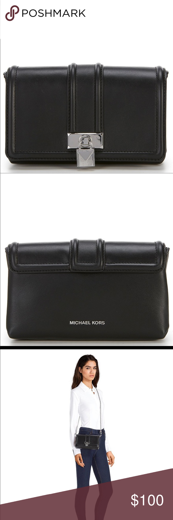 e41600fc4c93 Michael Kors Black Leather Padlock Chain Crossbody From MICHAEL Michael Kors
