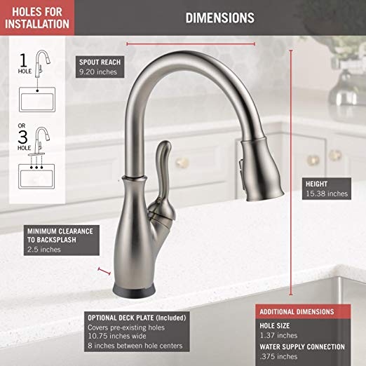 Delta Faucet Leland Single Handle Kitchen Sink Faucet With Pull Down Sprayer Shieldspray Technology And Magnetic Docking Spray Hea Kitchen Faucet Delta Faucets