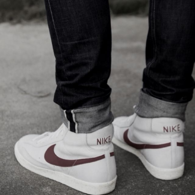 Street wear - Fresh Nike kicks and dark cuffed jeans. Essential.