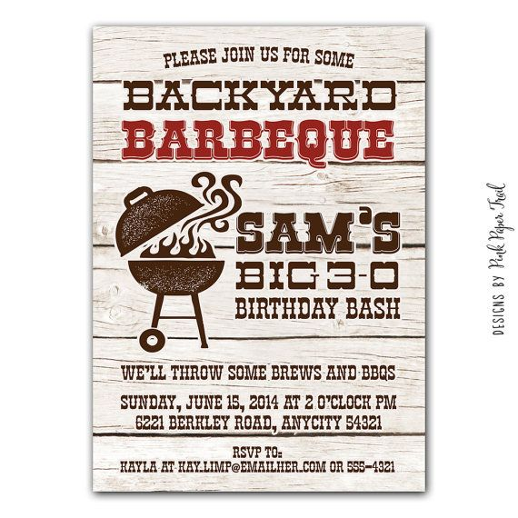 BBQ Party Invitation Barbeque Backyard Baby Shower Patriotic 30th 40th 50th 60th Birthd