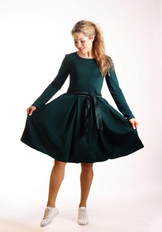 0dd81d36fb Dark green dress long sleeve, skater dress with pockets, casual autumn  winter dress, midi fit and flare dress, knee length elegant dress