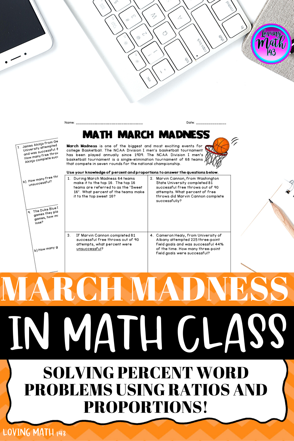 March Madness: Math Activity - Percent and Proportion   Math activities [ 1500 x 1000 Pixel ]