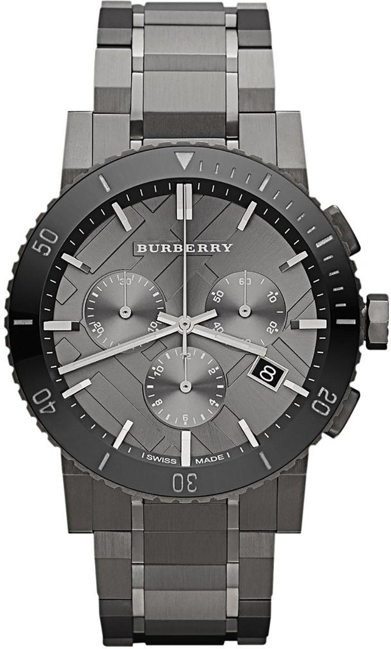494387a37ac Burberry Chronograph Gunmetal Dial Grey Ion-plated Stainless Steel Mens  Watch BU9381