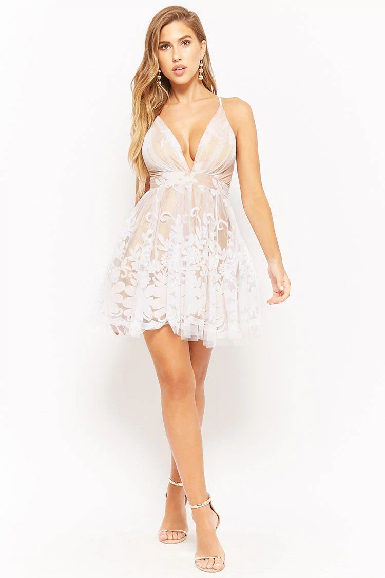 4487e5a6049 Plunging Mesh Tulle Floral Dress