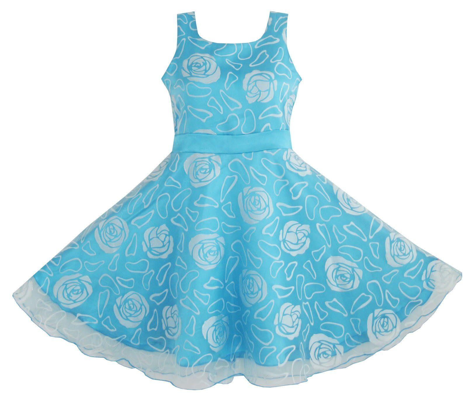 mädchen kleid blau rose hochzeit festzug: amazon.de