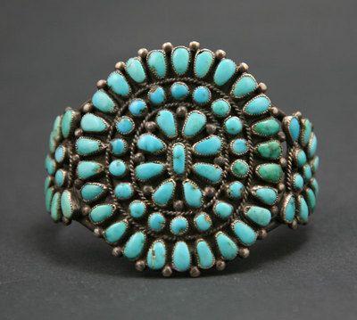 Zuni Turquoise Petit Point and Silver Bracelet circa 1930