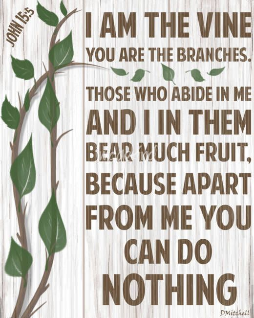 I Am The Vine You Are Branches By Diane Mitchell Distressed Scripture Typography Christian Art