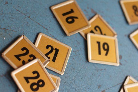 5 Metal Square Number Tags Metal Plates Flip by VintageInkPrints