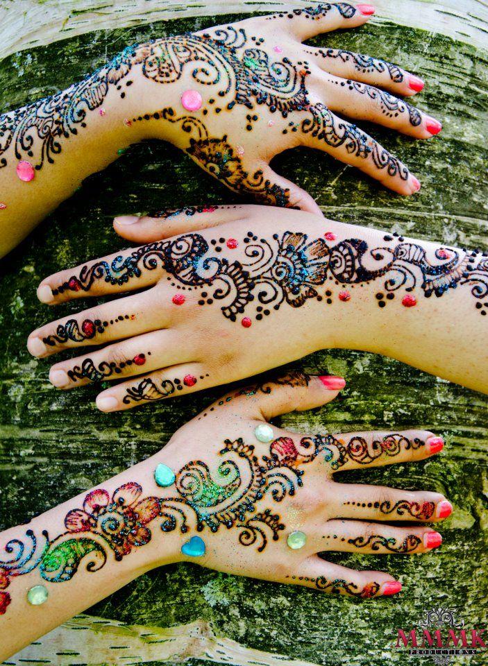Colored Henna Tattoo: Gorgeous Glitter Mehndi Designs
