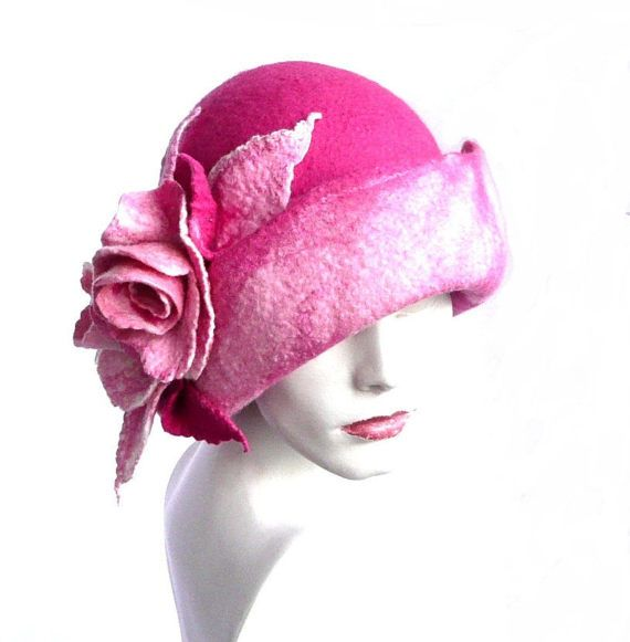 c105bd991e777 Rosa de fieltro sombrero fieltro Cloche sombrero rosas de