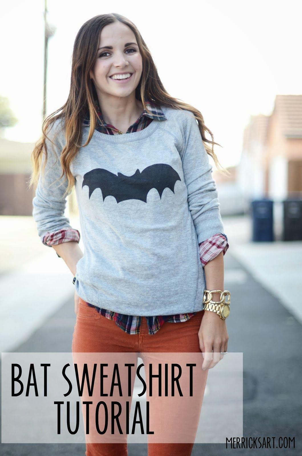 Bat sweatshirt tutorial using spray fabric paint - for Halloween or whenever ! - From Merrick's Art