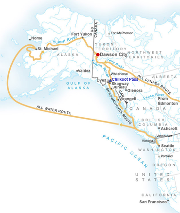 Fort Yukon Alaska Map.An Estimated 100 000 Prospectors To The Klondike Region Of The Yukon