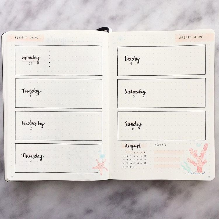 I wanted to repost this weekly spread seperately cause I really liked how it turned out. ???????? . #bujoaugust #bulletjournaling #august… #augustbulletjournal